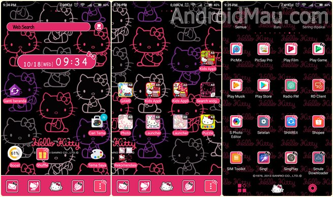 Tampilan tema hello kitty di home, aplikasi dan app drawer