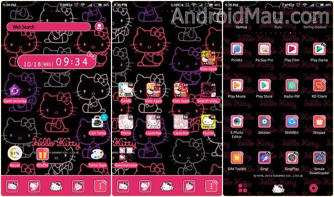 Tampilan tema hello kitty di home, aplikasi dan app drawer