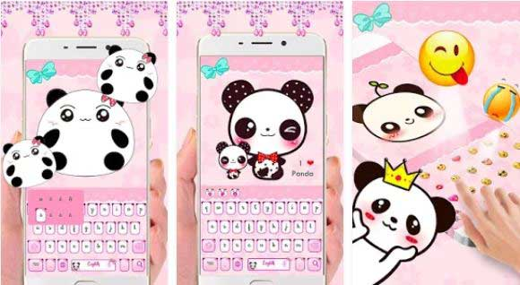 Cute pink Panda Keyboard Tema