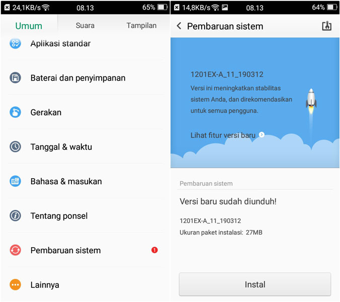 Update OS Android